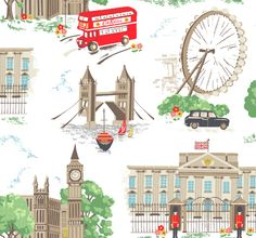 London | A fun homage to our hometown featuring landmarks like Tower Bridge and Buckingham Palace, plus a classic Routemaster bus with a cheeky Cath Kidston logo! | Cath Kidston Classic AW09 |