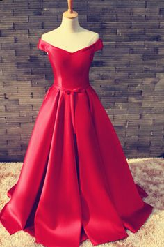 Gorgeous Red Off Shoulder Satin Long Prom Gown 2016, Red Prom Dresses 2016, Red…