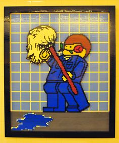 Another Lego mural inside another toilet. I don't know how many different murals there are.