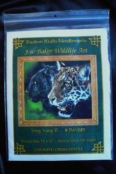 Ying Yang II Leopard Cross Stitch Chart by J. W. Baker Wildlife Art for Kustom Krafts Needlework.