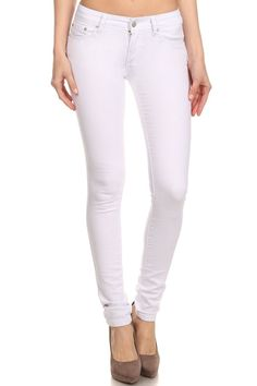 White Mid Rise Skinny Jean