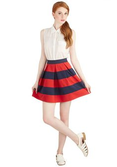 Stripe it Lucky Skirt in Navy & Red | Mod Retro Vintage Skirts | ModCloth.com