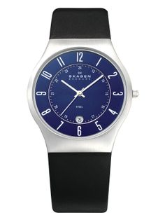 SKAGEN BLACK LEATHER ANALOGUE MENS WATCH - Stainless steel case with a black leather strap. Fixed stainless steel bezel. Blue dial with silver-tone hands and Arabic numeral hour markers. 24 hour markings. Minute markers. Dial Type: Analog. Date display at the 6 o'clock position. Japanese quartz movement. Scratch resistant mineral crystal. Solid case back.  Get it Now R1899.00 http://www.watchrepublic.co.za/brand/skagen/men/skagen-black-leather-analogue-mens-watch…