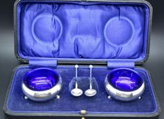 SUPERB Antique Solid Silver Barker Bros Pair Salts Spoons Blue Liners Box 1924 #BarkerBrothers