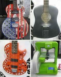 Real 3D printed guitars!! How weird can it get in guitar making land. Soon there are no luthiers but only 3D printers, ha,ha,ha! They are not cheap! Prices run up to $4,000. Made by 3D Systems, Inc. 333 Three D Systems Circle Rock Hill, SC 29730 www.cubify.com Cool Guitar, Guitar Rack, Custom Electric Guitars, Rock Hill, Cigar Box Guitar, Music Stuff, 3d Printer, Fun Facts, Instruments