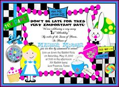 Deb's Party Designs -  Alice in Wonderland Birthday Invitation -Inspired, $0.95 (http://www.debspartydesigns.com/alice-in-wonderland-birthday-invitation-inspired/)
