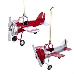 Tin Airplane Ornaments - Set of 2 by Kurt Adler - These tin airplanes models pay homage to the early days of aviation. - Christmas xmas tree holiday ornaments - Pilot Supplies at a Pilot Shop Aviation Decor, Airplane Decor, Ornament Crafts, Christmas Tree Ornaments, Us Islands, Pilot Gifts