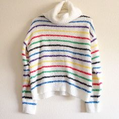 | New | 70s Vintage Rainbow Turtleneck Sweater • Oversized turtleneck for warmth • Material is 100% acrylic • Fun rainbow stripes  • Only flaws are some minor snags in the material, as pictured Vintage Sweaters Cowl & Turtlenecks