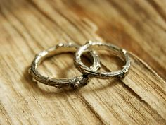 Silver Twig Wedding Rings (set of two rings)  These rustic, handmade Wedding Rings are crafted in sterling silver from actual twigs and make an usual alternative to traditional wedding or commitment rings.  Using the ancient technique of Lost Wax Casting,