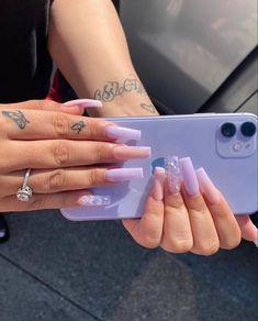 Long Square Acrylic Nails, Purple Acrylic Nails, Best Acrylic Nails, Summer Acrylic Nails, Purple Nails, Hand Tattoos, Acylic Nails, Drip Nails, Cute Acrylic Nail Designs