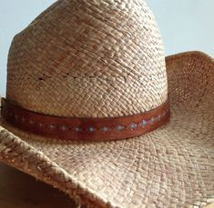 ac8e9b7d31b Hat Band Leather Hat Band Cowboy Hat Band Mahogany Brown or Distressed Java  and turquoise -