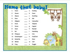 baby shower animal game answers | baby shower ideas | Pinterest ...