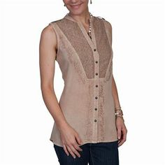 Scully Women's Embroidered Sleeveless Blouse