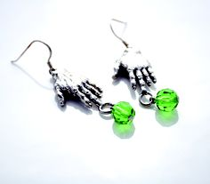 Zombie hand earrings with green beads!