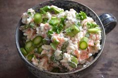 Salmon and Cottage Cheese Salad (danish) Tapas, Salad Recipes, Healthy Recipes, Brunch, Danish Food, Lunch Snacks, Fish And Seafood, I Love Food, Food Inspiration