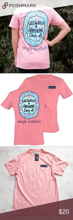 """Simply Southern Saltwater and Sunshine T-Shirt Constructed from 100% cotton, this comfy and cute Simply Southern Collection tee is a party pink color with teal and navy graphics. The back of this women's tee has a screen-printed quote that reads """"Saltwater and Sunshine Cures All"""" with various preppy graphics and prints. There is a simply southern logo screen-printed on the front breast of this tee. Made with a jersey knit fabric and featuring a crew ribbed knitting neckline. Simply Southern…"""