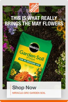 April showers are nice, but it's hard to beat Miracle-Gro soil for beautiful blooms. Get plants off to a great start with Miracle-Gro All Purpose Garden Soil. Enriched with continuous release plant food, it feeds plants for up to 3 months and improves existing soil to help your plants build strong roots. Click to shop Miracle-Gro products at The Home Depot. New Market, Farmers Market, Free Mail, Yard Drainage, Drawing For Beginners, Garden Club, Garden Soil, April Showers, Lawn Care