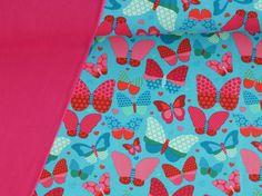 Stoffpakete - 953 Stoffpaket Sweat Schmetterlinge Türkis 1,25m - ein Designerstück von pretty-child bei DaWanda