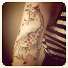 This is MY arm. Meet McQueen the giraffe. #tattoo #ink