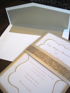 Glitter belly band wedding invitation by The Inviting Pear