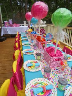 candyland ideas for party Candy Theme Birthday Party, Birthday Party Tables, 6th Birthday Parties, Candy Party, Birthday Party Decorations, 10 Birthday, Summer Birthday, Theme Parties, Lollipop Decorations