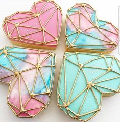 inspired by the amazing watercolour diamonds. Heart cutters from Fancy Cookies, Heart Cookies, Iced Cookies, Cute Cookies, Royal Icing Cookies, Cupcake Cookies, Sugar Cookies, Valentines Day Cookies, Iced Biscuits