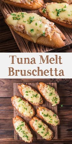 Tuna melt bruschetta is easy and delicious Italian inspired appetizer. Cheesy, c… Tuna melt bruschetta is easy and delicious Italian inspired appetizer. Cheesy, creamy and savory tuna topped baguette. Appetizers For A Crowd, Italian Appetizers, Seafood Appetizers, Appetizer Recipes, Baguette Appetizer, Party Appetizers, Baguette Sandwich, Bruschetta, Tuna Recipes