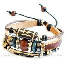 jewelry bangle leather bracelet fashion bracelet women bracelet men bracelet cuff made of leather ropes wood glass beads  metal SH-00000016