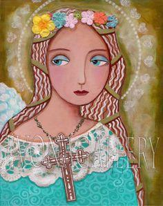 Print, art, illustration,Folk Art Painting, Angel of Faith, Print 8x 10in, Mixed Media, Wall Decor by Evona