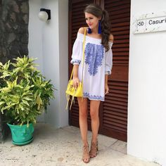 love this blue and white dress