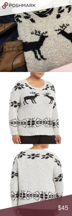 JUST IN - Deer Pullover Sweater - Plus Sizes This gorgeous sweater will become your new winter fav.!  It is a pullover sweater with classic crew neck with the coziest yarn made of a blend of acrylic, wool and poly which makes the sweater washable but be sure to air dry (due to the wool content).  The added wool will keep you cozy warm during all the cold winter months.  The beautiful sweater designs, including the deer, are in black yarn while the rest of the sweater is an oatmeal color…