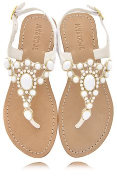 summer white beaded thong sandals by Mystique