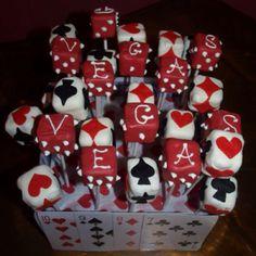 Casino cake and dice cake pops! Las Vegas Party, Vegas Theme, Casino Night Party, Vegas Casino, James D'arcy, James Bond, Casino Party Foods, Casino Theme Parties, Casino Royale
