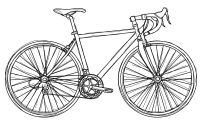 free bicycle digital stamp black white outline -- and must have bicycle coloring pages!