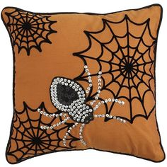 """What did the movie-loving hipster say when he saw our flocked and beaded Halloween pillow? """"Spider, man."""" Details & Dimensions: 14""""W x 14""""H. Cover: Polyester, …"""