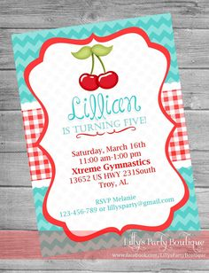 Sweet Cherry Birthday Party Digital by LillysPartyBoutique on Etsy, $14.00