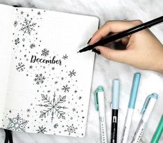 my december plan with me + bullet journal setup is up! ❄️ it's a snowy one, so make sure you get all cozy before you watch link in my bio! can you believe that this is the last month of 2017??? it's crazy! Bullet Journal January Cover Page, Bullet Journal 2018 Setup, Bullet Journal Cover Ideas, Journal Covers, Bullet Journal Inspiration, Bullet Journal Spread, Drawing Snowflakes, Easy Snowflake Drawing, Journal Ideas