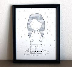 squeaky rain boots  original drawing illustration  by inkbyjeng