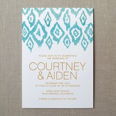 Ikat Watercolor Wedding Invitation Suite by finedaypress on Etsy