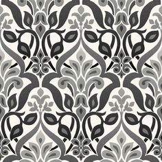 Beacon House 56 sq. ft. Fusion Black Ombre Damask Wallpaper-2535-20648 at The Home Depot