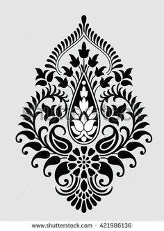 Benzer Traditional Indian motif Görselleri, Stok Fotoğrafları ve Vektörleri - 384857467 Indian Embroidery, Folk Embroidery, Embroidery Patterns, Motif Design, Mandala Design, Pattern Design, Motif Baroque, Baroque Pattern, Stencil Painting