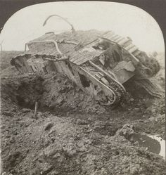 Battered to Death by the Enemy, a Derelict Tank near Cambrai. WW1 Stereoview | eBay