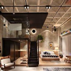 Industrial bedroom design, industrial loft, industrial interiors, design be Loft Design, Design Case, Modern House Design, Attic Design, Industrial Bedroom Design, Industrial House, Design Bedroom, Bedroom Loft, Loft Bathroom