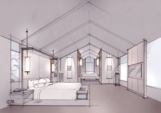 Hotel Guest Room Perspective on Behance Interior Architecture Drawing, Drawing Interior, Interior Design Sketches, Interior Rendering, Architecture Design, Classical Architecture, Perspective Room, Warehouse Design, Layout Design