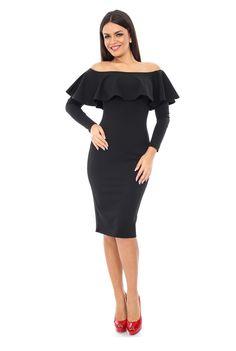 Rochie de seara fara umeri si cu falduri DR2676 negru de la Ama Fashion
