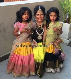 ariana and viviana in half sarees - Telugu wedding kids fashion Kids Dress Wear, Kids Gown, Dresses Kids Girl, Kids Outfits, Kids Wear, Baby Dresses, Kids Indian Wear, Kids Ethnic Wear, Lehanga For Kids