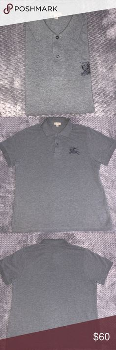 Authentic Burberry Men's Polo This is a gray men's Burberry slim fit XL polo. Only worn a few times. Still in great condition.  ✅Bundle discounts. ✅ Reasonable offers will be considered. 🚫No trades.  🛍🛍Happy Poshing!!🛍🛍 Burberry Shirts Polos
