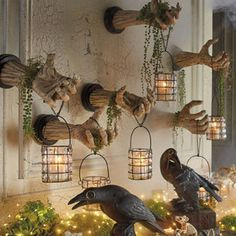 Grandin Road Creepy Hands With Lanterns, Set Of Two