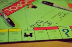wedding guests sign Monopoly game board