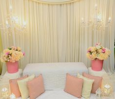 Can I have a simple pelamin like this for my wedding? Indoor Wedding Decorations, Engagement Decorations, Backdrop Decorations, Engagement Ideas, Backdrops, Pelamin Simple, Diy Pelamin, Wedding Scene, Dream Wedding
